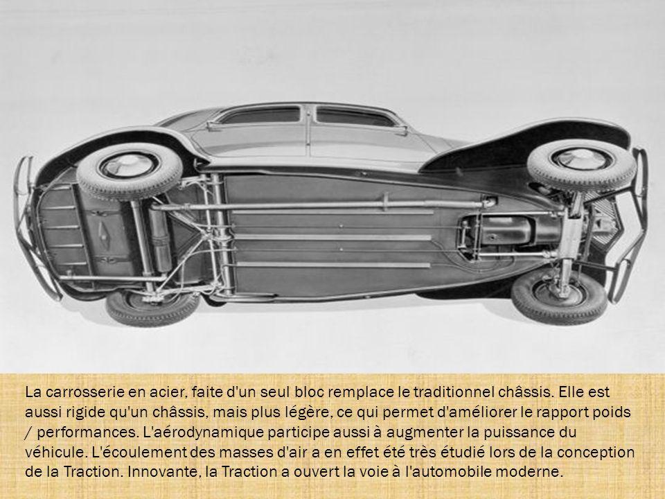 La carrosserie en acier, faite d un seul bloc remplace le traditionnel châssis.