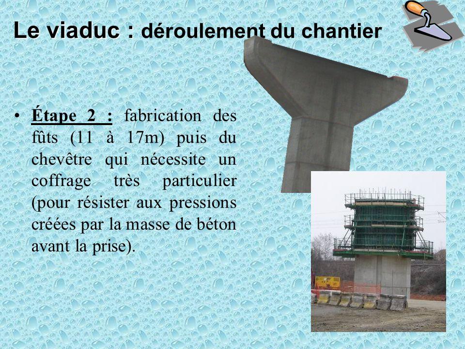 Étape 2 : fabrication des fûts (11 à 17m) puis du chevêtre qui nécessite un coffrage très particulier (pour résister aux pressions créées par la masse