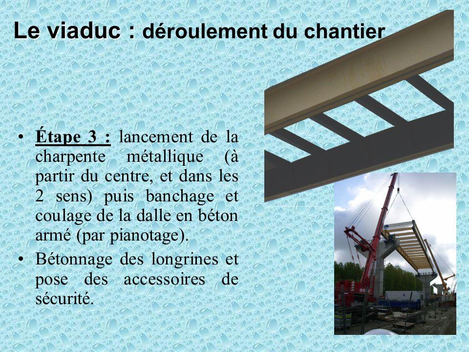 Le viaduc : Le viaduc : déroulement du chantier Étape 3 : lancement de la charpente métallique (à partir du centre, et dans les 2 sens) puis banchage