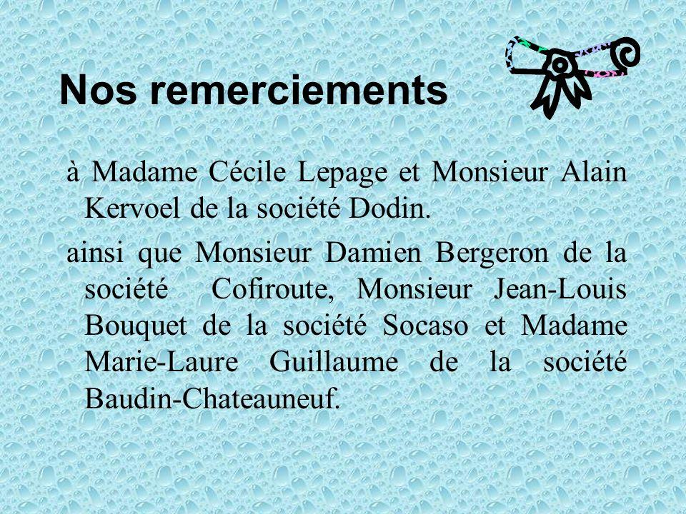 Nos remerciements à Madame Cécile Lepage et Monsieur Alain Kervoel de la société Dodin. ainsi que Monsieur Damien Bergeron de la société Cofiroute, Mo