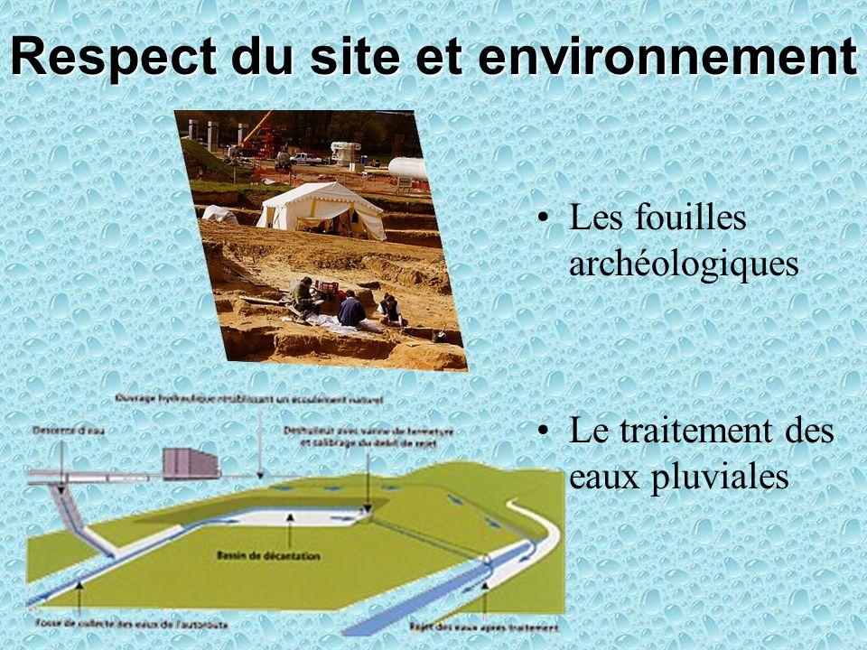 Respect du site et environnement Les fouilles archéologiques Le traitement des eaux pluviales