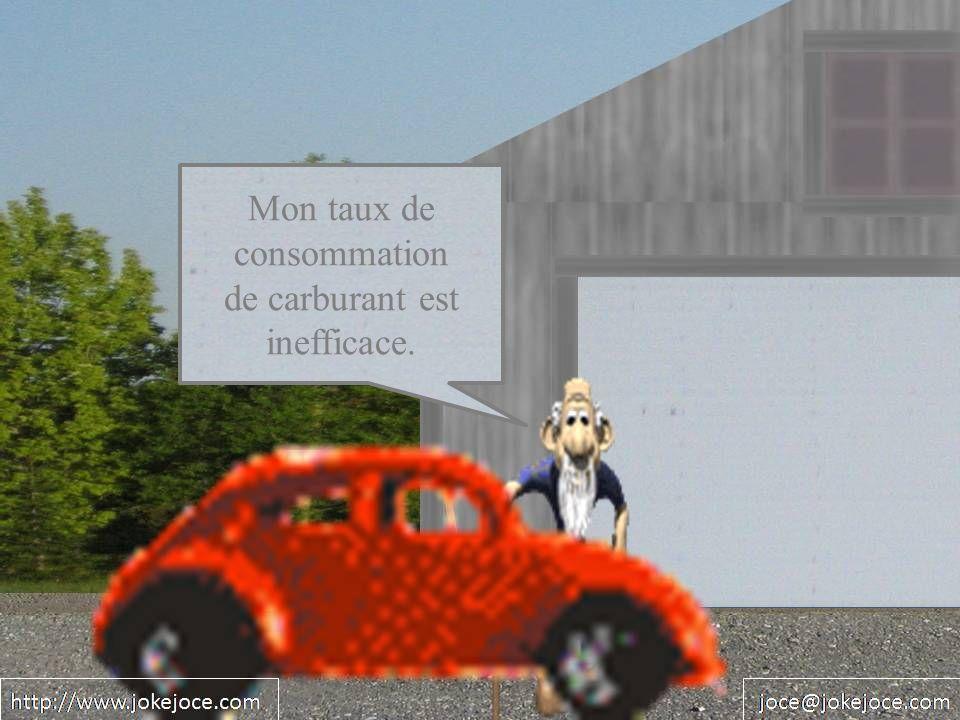Mon taux de consommation de carburant est inefficace.