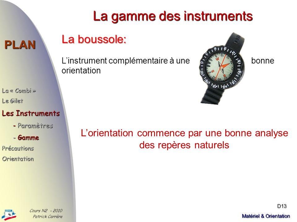 La gamme des instruments PLAN Cours N2 - 2010 Patrick Carrère D12 Matériel & Orientation Lordinateur de plongée : En dehors des paramètres de plongée,
