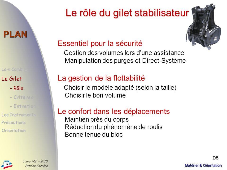 Les bons critères PLAN La « Combi » - Choix - Choix - Critères - Critères Le Gilet Les Instruments PrécautionsOrientation Cours N2 - 2010 Patrick Carr