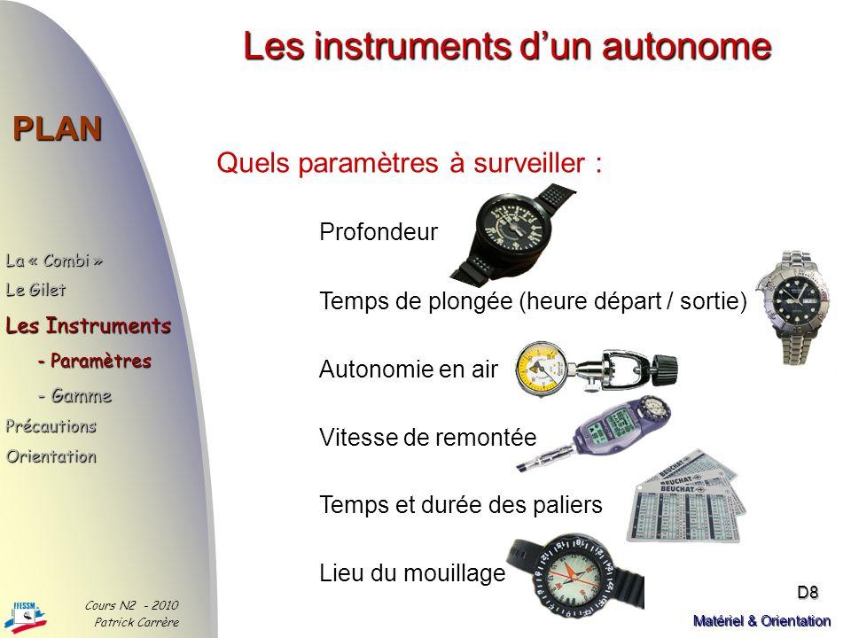 Son entretien PLAN La « Combi » Le Gilet - Rôle - Critères - Entretien Les Instruments PrécautionsOrientation Cours N2 - 2010 Patrick Carrère D7 Matér