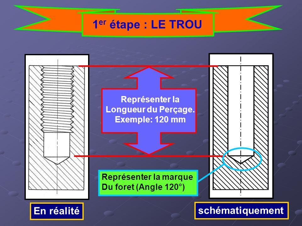 En réalité schématiquement 1 er étape : LE TROU Représenter la Longueur du Perçage. Exemple: 120 mm Représenter la marque Du foret (Angle 120°)