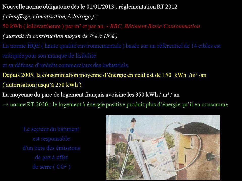 Nouvelle norme obligatoire dès le 01/01/2013 : réglementation RT 2012 ( chauffage, climatisation, éclairage ) : 50 kWh ( kilowattheure ) par m² et par