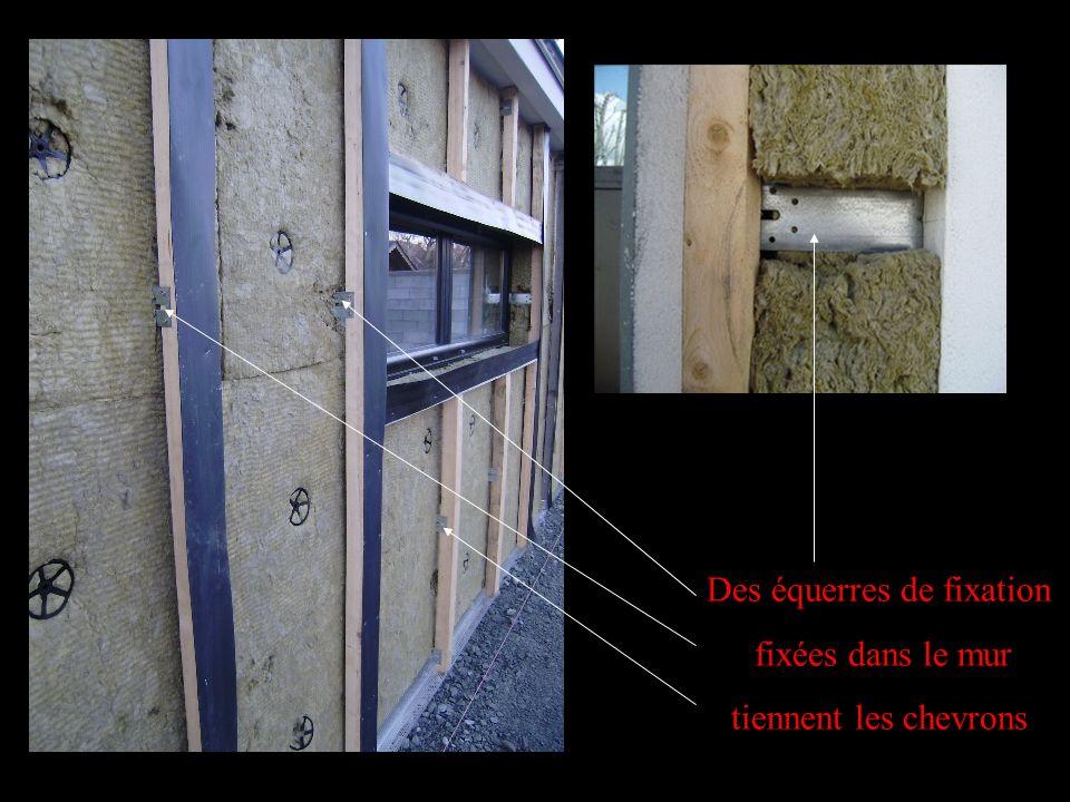 Des équerres de fixation fixées dans le mur tiennent les chevrons