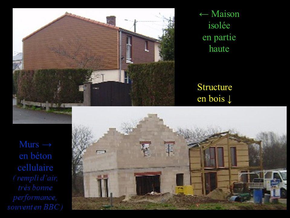 Murs en béton cellulaire ( rempli dair, très bonne performance, souvent en BBC ) Maison isolée en partie haute Structure en bois