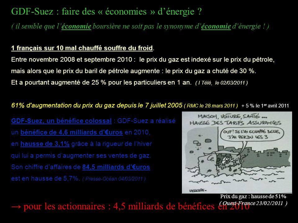 GDF-Suez : faire des « économies » dénergie ? ( il semble que léconomie boursière ne soit pas le synonyme déconomie dénergie ! ). 1 français sur 10 ma