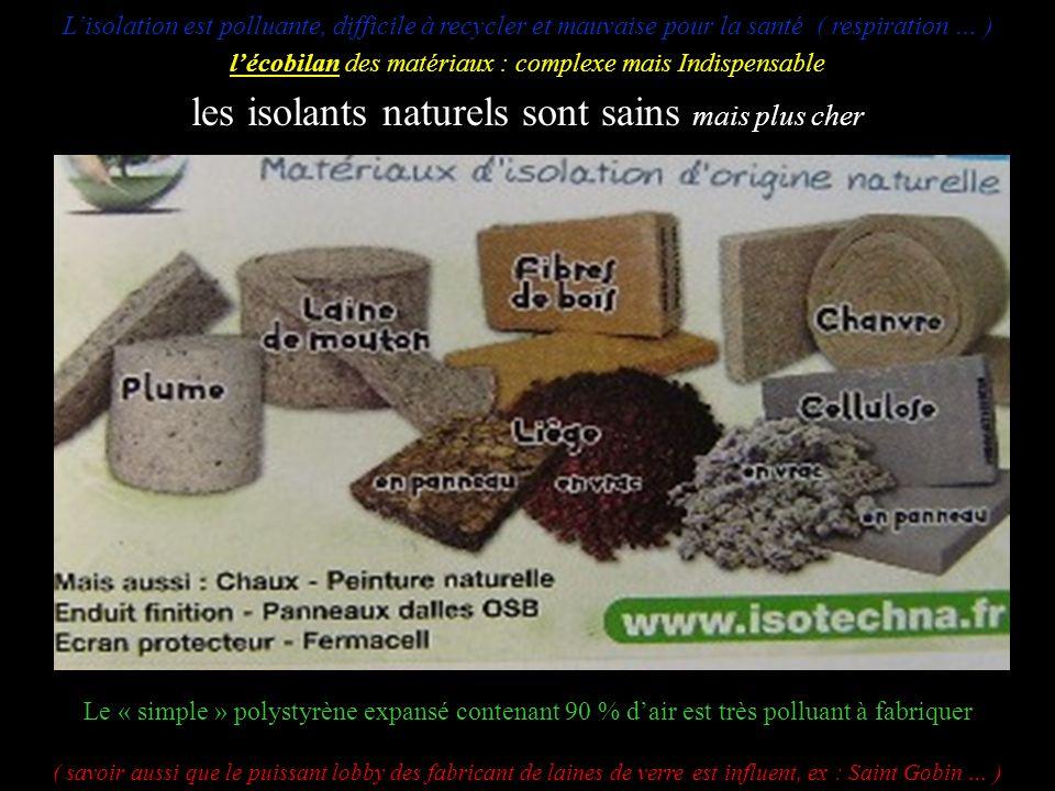 Lisolation est polluante, difficile à recycler et mauvaise pour la santé ( respiration … ) lécobilan des matériaux : complexe mais Indispensable les i