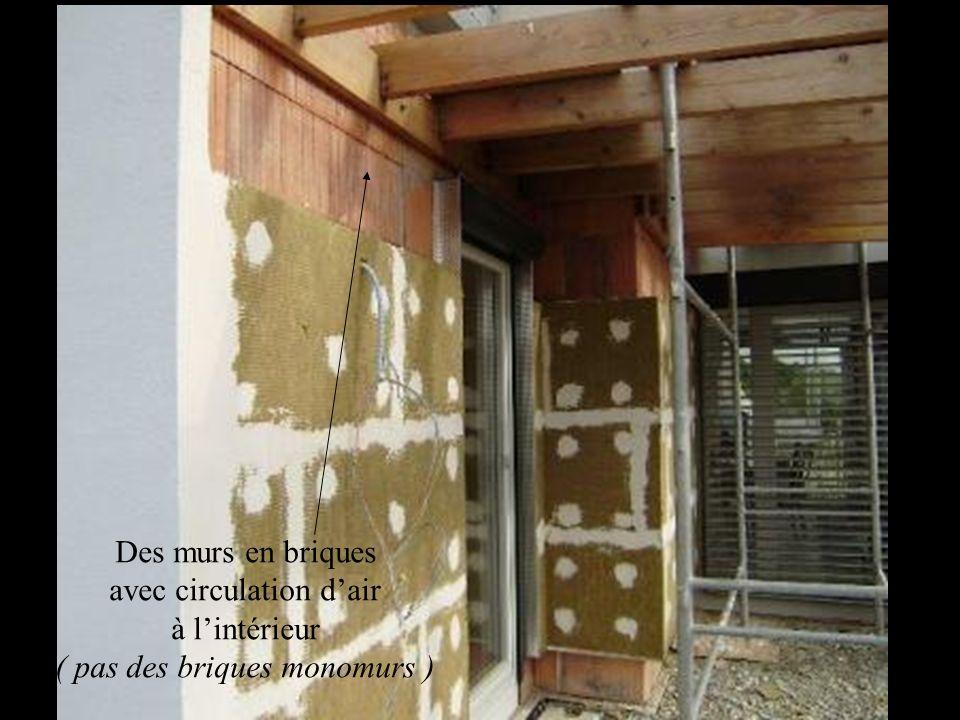 Des murs en briques avec circulation dair à lintérieur ( pas des briques monomurs )