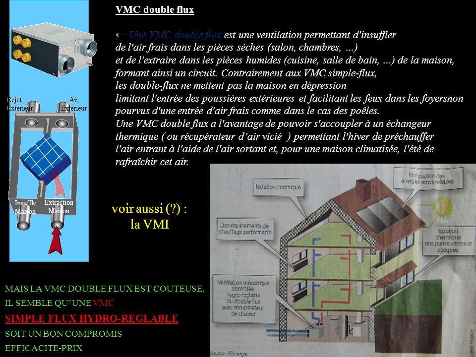 VMC double flux Une VMC double flux est une ventilation permettant d'insuffler de l'air frais dans les pièces sèches (salon, chambres, …) et de l'extr