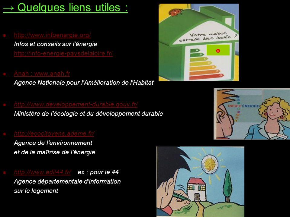 Quelques liens utiles : http://www.infoenergie.org/ Infos et conseils sur lénergie http://info-energie-paysdelaloire.fr/ http://www.infoenergie.org/ h