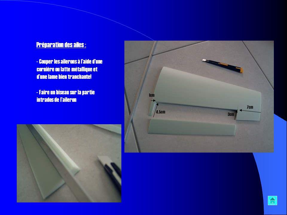 Préparer les poutres et laile centrale: - Découper lemplacement des servos dans les poutres - Découper une saignée dans laile centrale pour les rallon