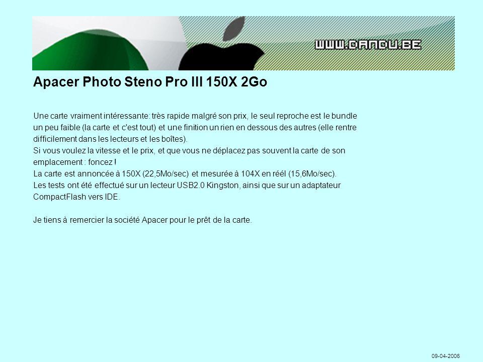 Apacer Photo Steno Pro III 150X 2Go Une carte vraiment intéressante: très rapide malgré son prix, le seul reproche est le bundle un peu faible (la carte et c est tout) et une finition un rien en dessous des autres (elle rentre difficilement dans les lecteurs et les boîtes).