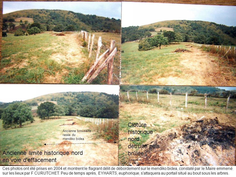Ces photos ont été prises en 2004 et montrent le flagrant délit de débordement sur le mendiko bidea, constaté par le Maire emmené sur les lieux par F