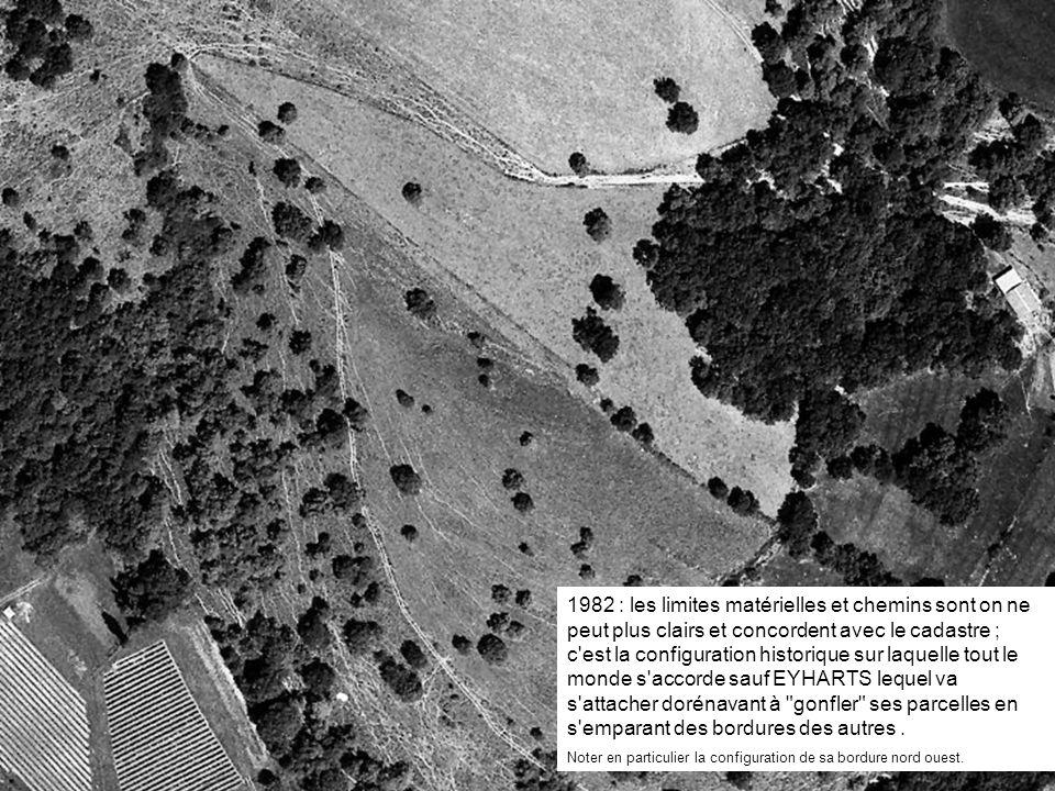 1982 : les limites matérielles et chemins sont on ne peut plus clairs et concordent avec le cadastre ; c'est la configuration historique sur laquelle