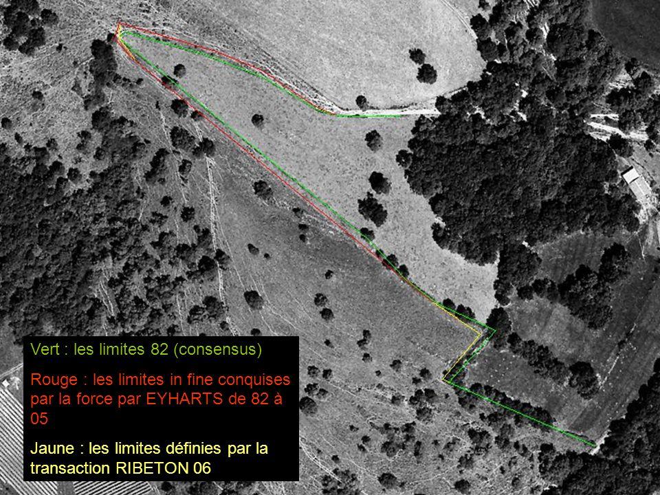 Vert : les limites 82 (consensus) Rouge : les limites in fine conquises par la force par EYHARTS de 82 à 05 Jaune : les limites définies par la transa