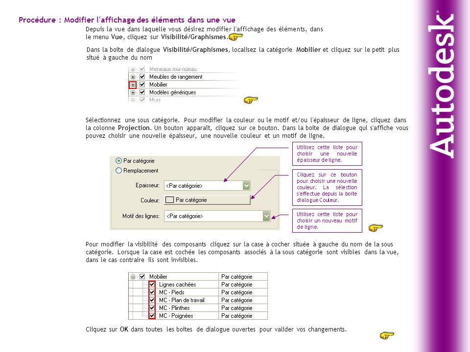 Procédure : Modifier l'affichage des éléments dans une vue Depuis la vue dans laquelle vous désirez modifier l'affichage des éléments, dans le menu Vu