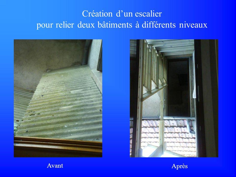 Création dun escalier pour relier deux bâtiments à différents niveaux Avant Après