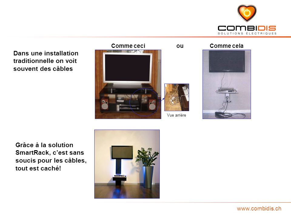 www.combidis.ch Dans une installation traditionnelle on voit souvent des câbles Grâce à la solution SmartRack, cest sans soucis pour les câbles, tout est caché.