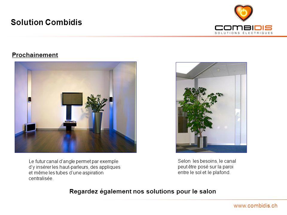 Solution Combidis www.combidis.ch Prochainement Le futur canal dangle permet par exemple dy insérer les haut-parleurs, des appliques et même les tubes dune aspiration centralisée.