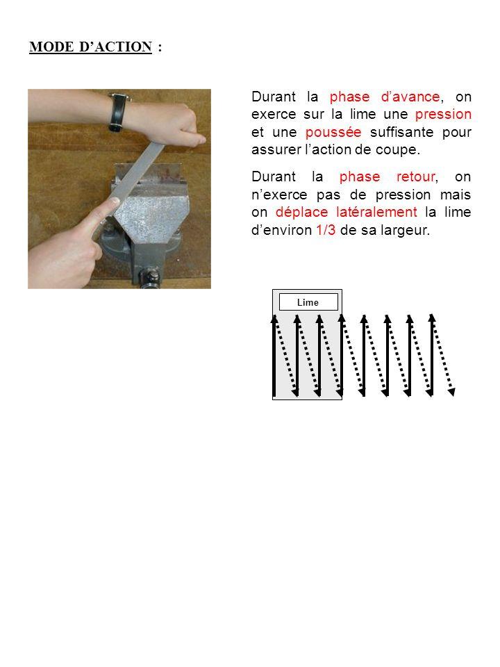 MODE DACTION : Durant la phase davance, on exerce sur la lime une pression et une poussée suffisante pour assurer laction de coupe.