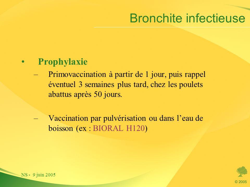 NS - 9 juin 2005 Bronchite infectieuse Prophylaxie –Primovaccination à partir de 1 jour, puis rappel éventuel 3 semaines plus tard, chez les poulets a