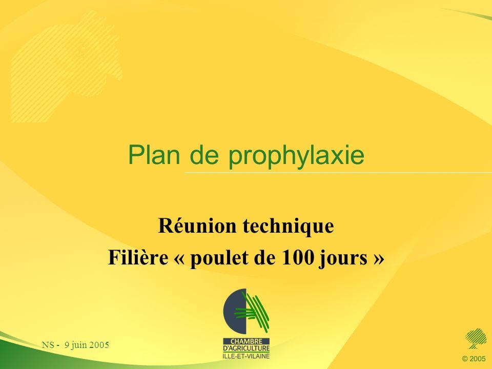 NS - 9 juin 2005 Plan de prophylaxie Réunion technique Filière « poulet de 100 jours »