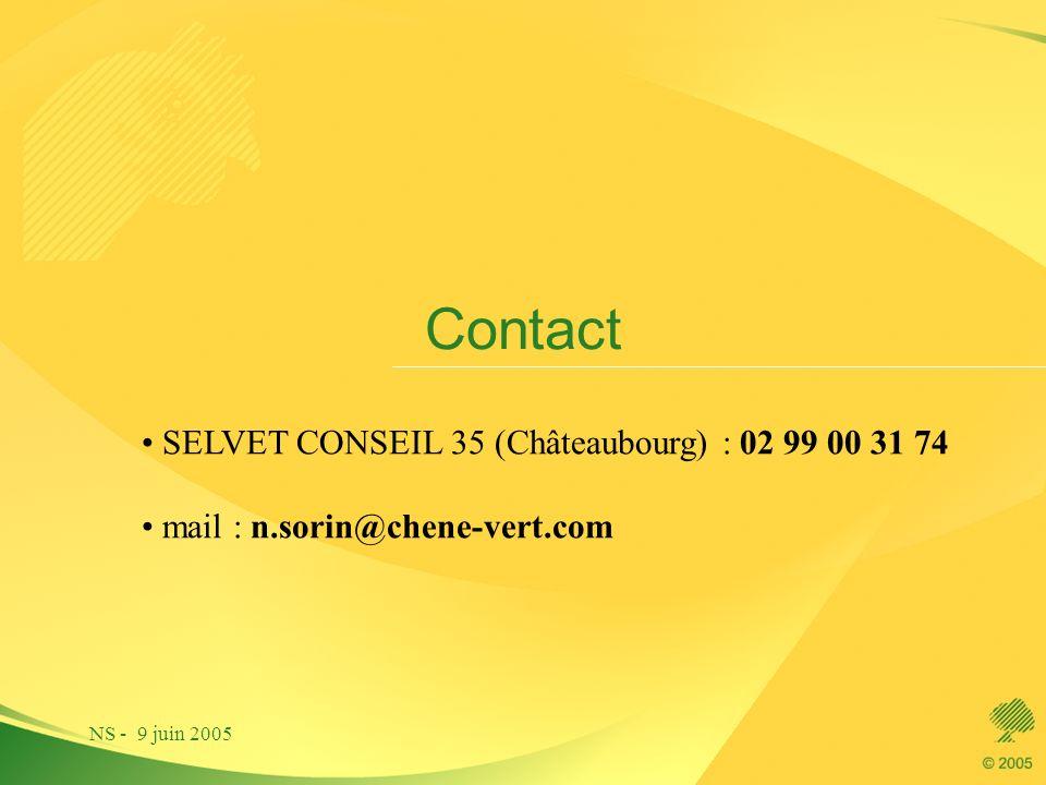 NS - 9 juin 2005 Contact SELVET CONSEIL 35 (Châteaubourg) : 02 99 00 31 74 mail : n.sorin@chene-vert.com