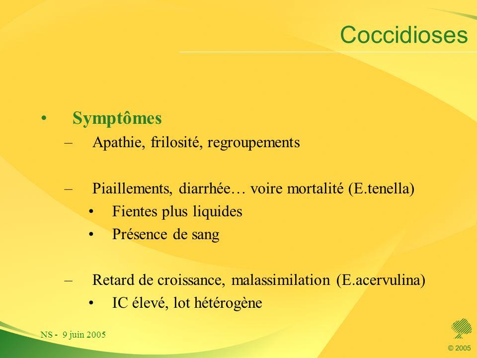 NS - 9 juin 2005 Coccidioses Symptômes –Apathie, frilosité, regroupements –Piaillements, diarrhée… voire mortalité (E.tenella) Fientes plus liquides P