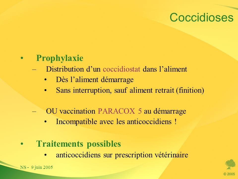 NS - 9 juin 2005 Coccidioses Prophylaxie –Distribution dun coccidiostat dans laliment Dès laliment démarrage Sans interruption, sauf aliment retrait (
