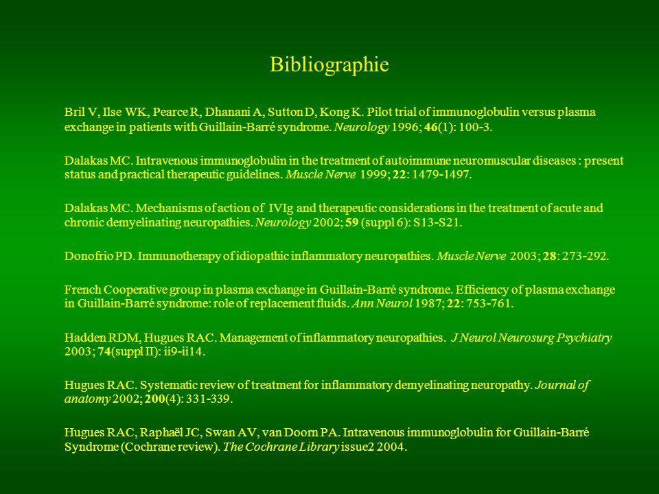 Bibliographie Bril V, Ilse WK, Pearce R, Dhanani A, Sutton D, Kong K. Pilot trial of immunoglobulin versus plasma exchange in patients with Guillain-B