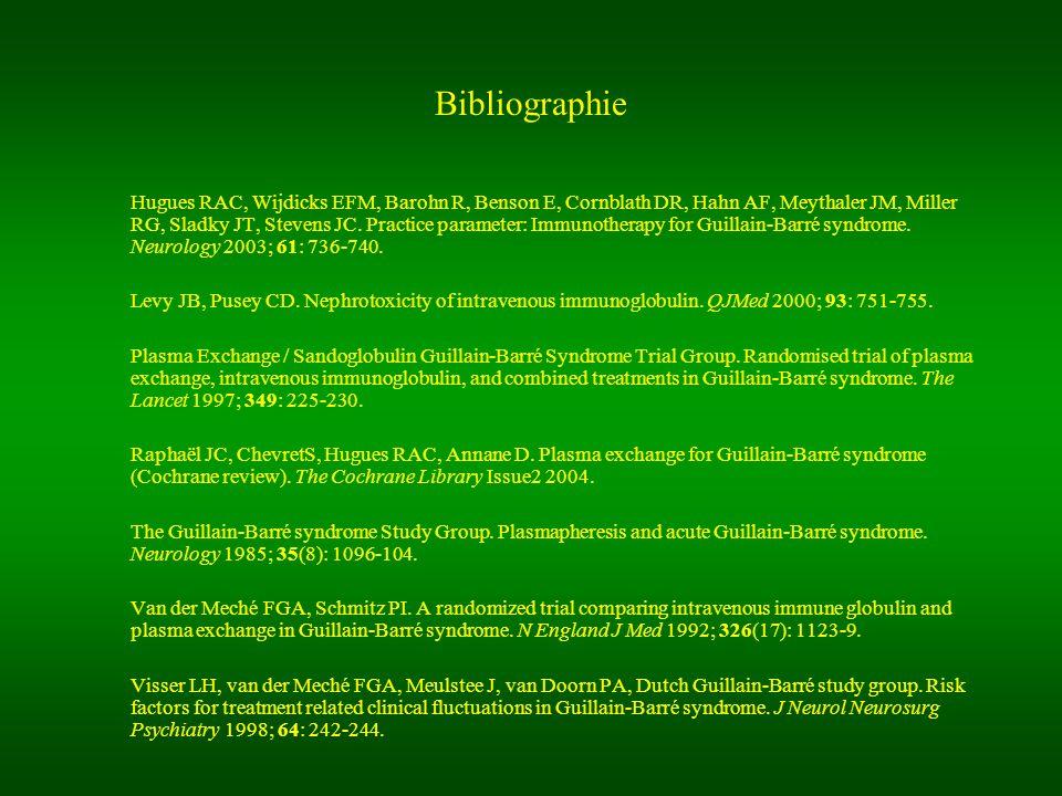 Bibliographie Hugues RAC, Wijdicks EFM, Barohn R, Benson E, Cornblath DR, Hahn AF, Meythaler JM, Miller RG, Sladky JT, Stevens JC. Practice parameter: