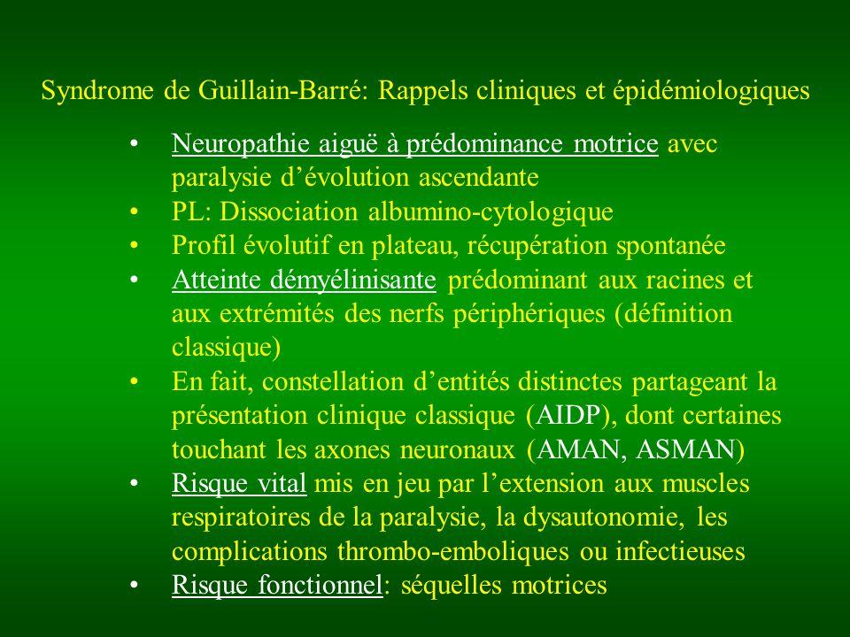 Syndrome de Guillain-Barré: Rappels cliniques et épidémiologiques Neuropathie aiguë à prédominance motrice avec paralysie dévolution ascendante PL: Di