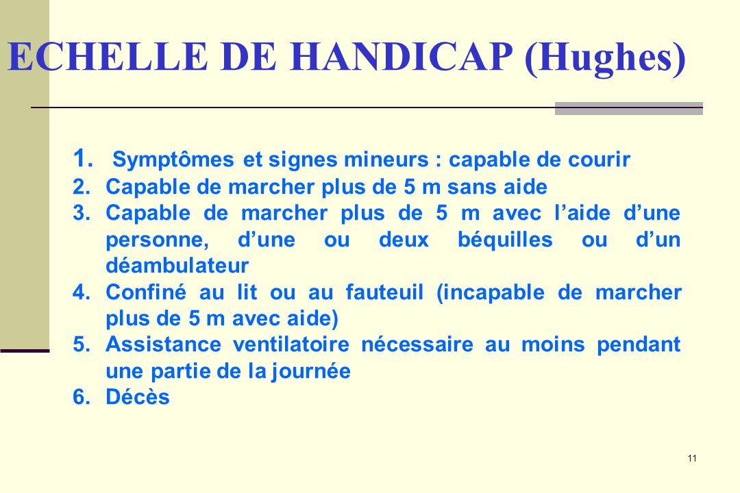 11 ECHELLE DE HANDICAP (Hughes) 1. Symptômes et signes mineurs : capable de courir 2.Capable de marcher plus de 5 m sans aide 3.Capable de marcher plu