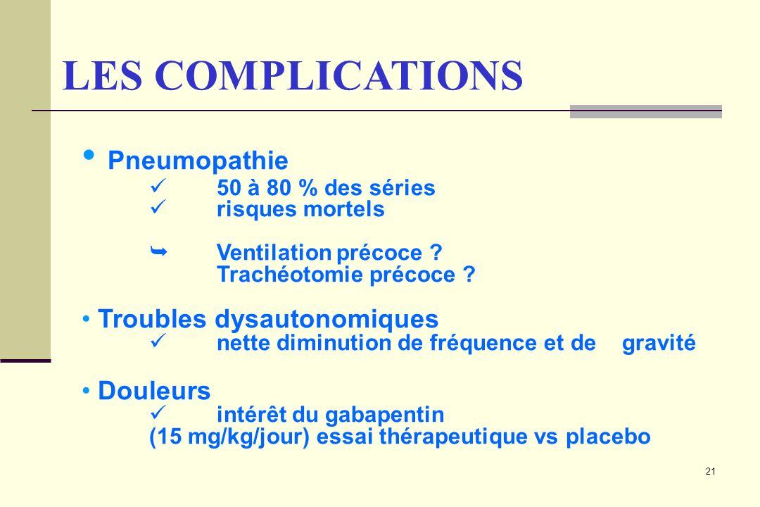 21 LES COMPLICATIONS Pneumopathie 50 à 80 % des séries risques mortels Ventilation précoce ? Trachéotomie précoce ? Troubles dysautonomiques nette dim