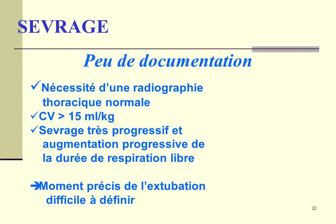 22 Nécessité dune radiographie thoracique normale CV > 15 ml/kg Sevrage très progressif et augmentation progressive de la durée de respiration libre M