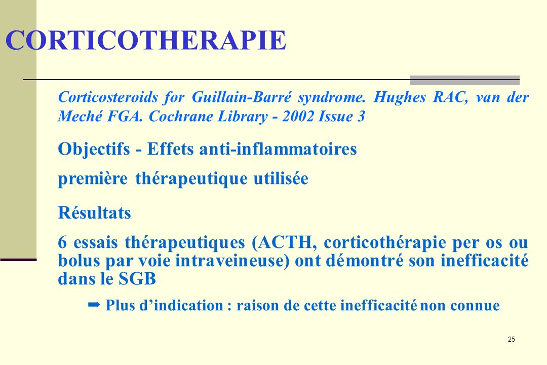 25 CORTICOTHERAPIE Corticosteroids for Guillain-Barré syndrome.