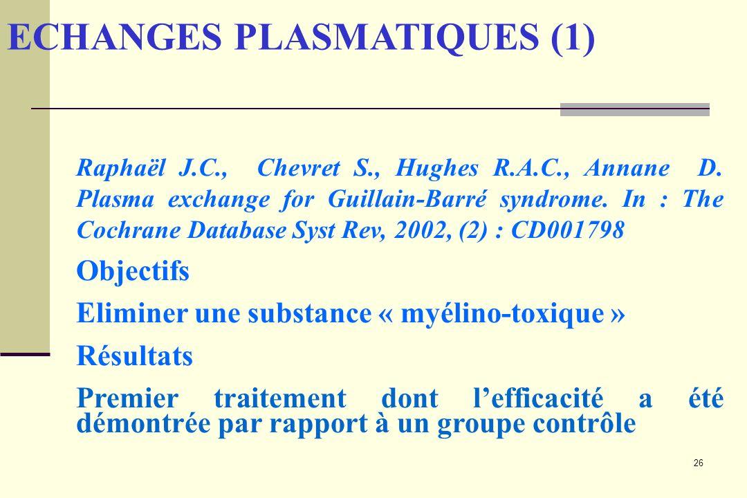 26 ECHANGES PLASMATIQUES (1) Raphaël J.C., Chevret S., Hughes R.A.C., Annane D. Plasma exchange for Guillain-Barré syndrome. In : The Cochrane Databas