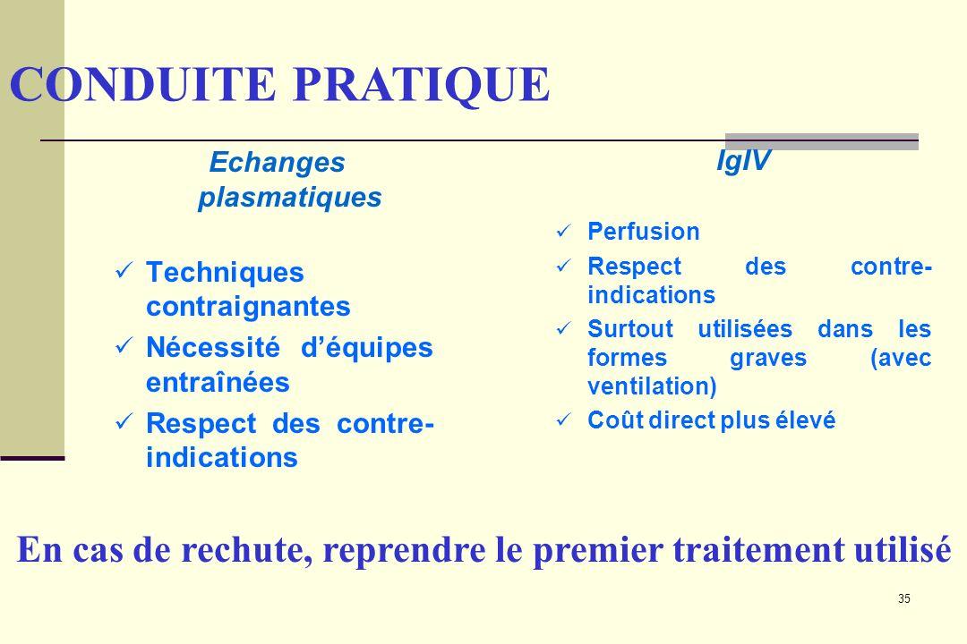 35 Echanges plasmatiques Techniques contraignantes Nécessité déquipes entraînées Respect des contre- indications IgIV Perfusion Respect des contre- in