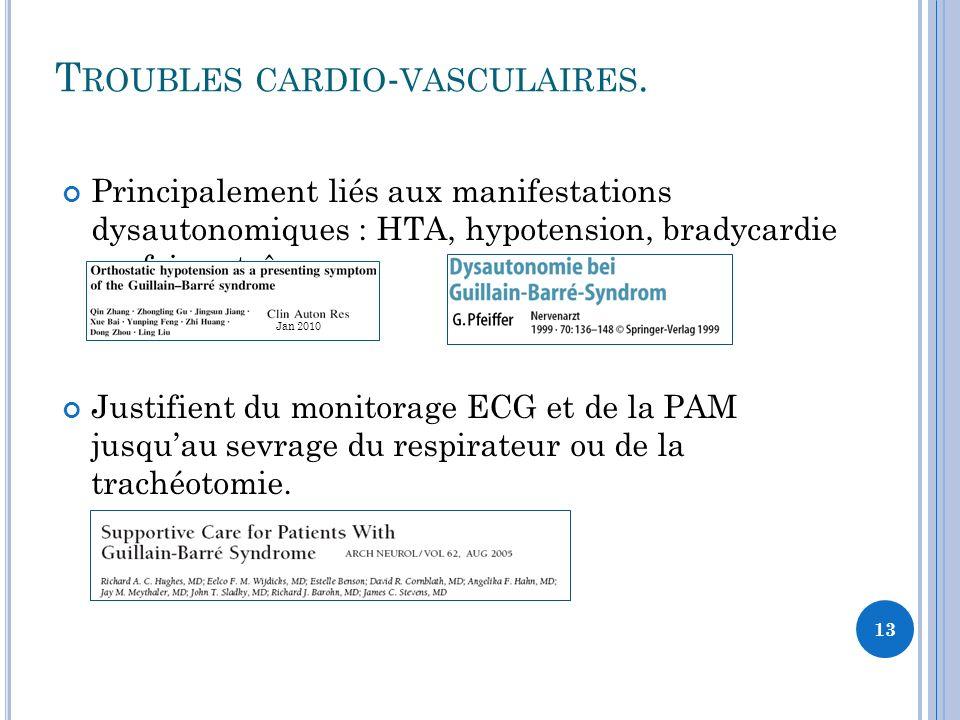 T ROUBLES CARDIO - VASCULAIRES. Principalement liés aux manifestations dysautonomiques : HTA, hypotension, bradycardie parfois extrêmes. Justifient du