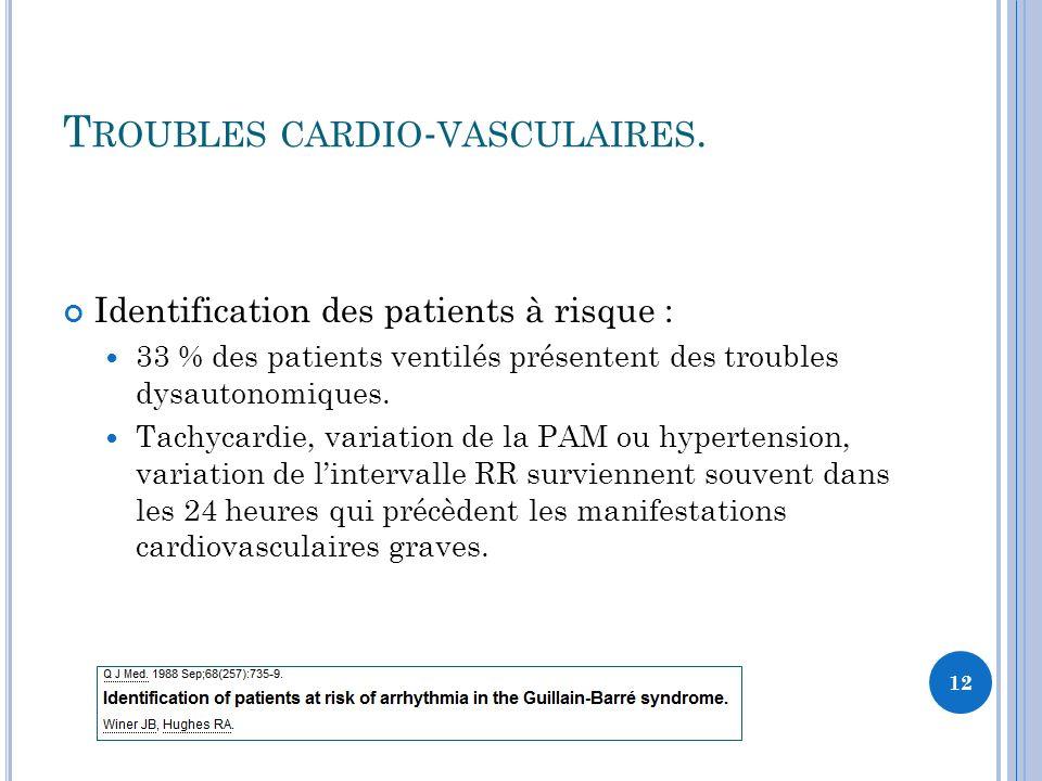 T ROUBLES CARDIO - VASCULAIRES. Identification des patients à risque : 33 % des patients ventilés présentent des troubles dysautonomiques. Tachycardie