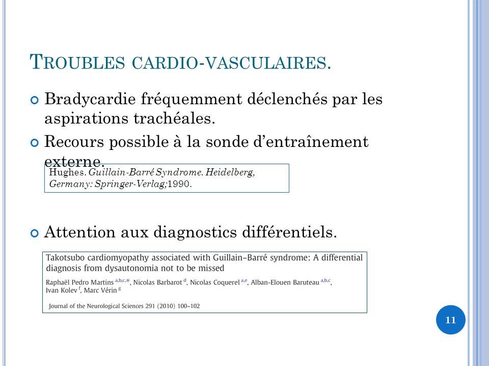 T ROUBLES CARDIO - VASCULAIRES. Bradycardie fréquemment déclenchés par les aspirations trachéales. Recours possible à la sonde dentraînement externe.