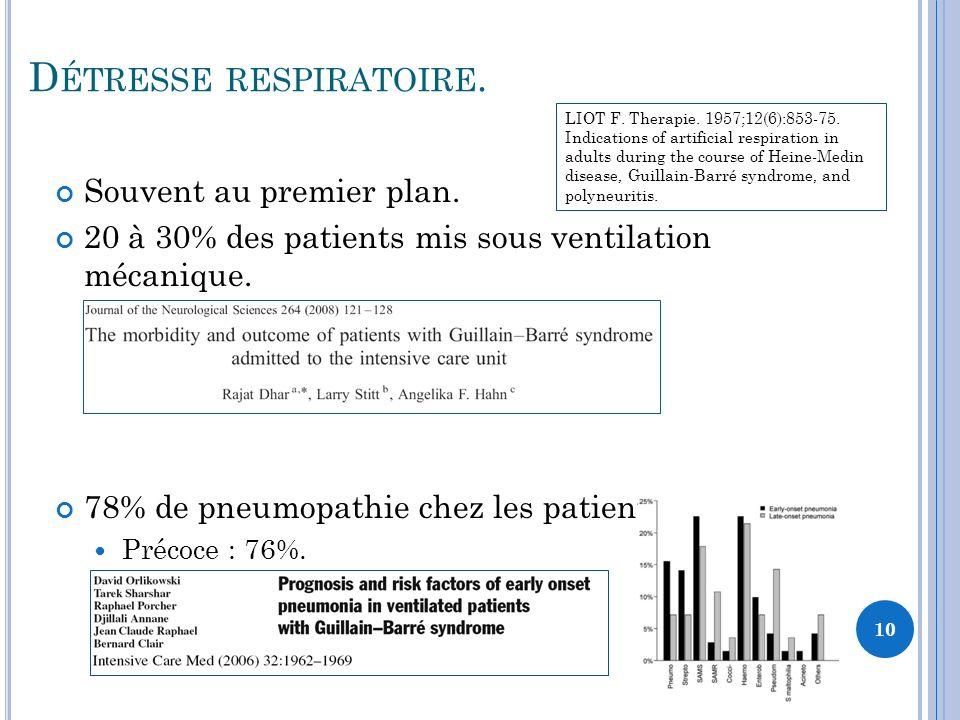 D ÉTRESSE RESPIRATOIRE. Souvent au premier plan. 20 à 30% des patients mis sous ventilation mécanique. 78% de pneumopathie chez les patients ventilés