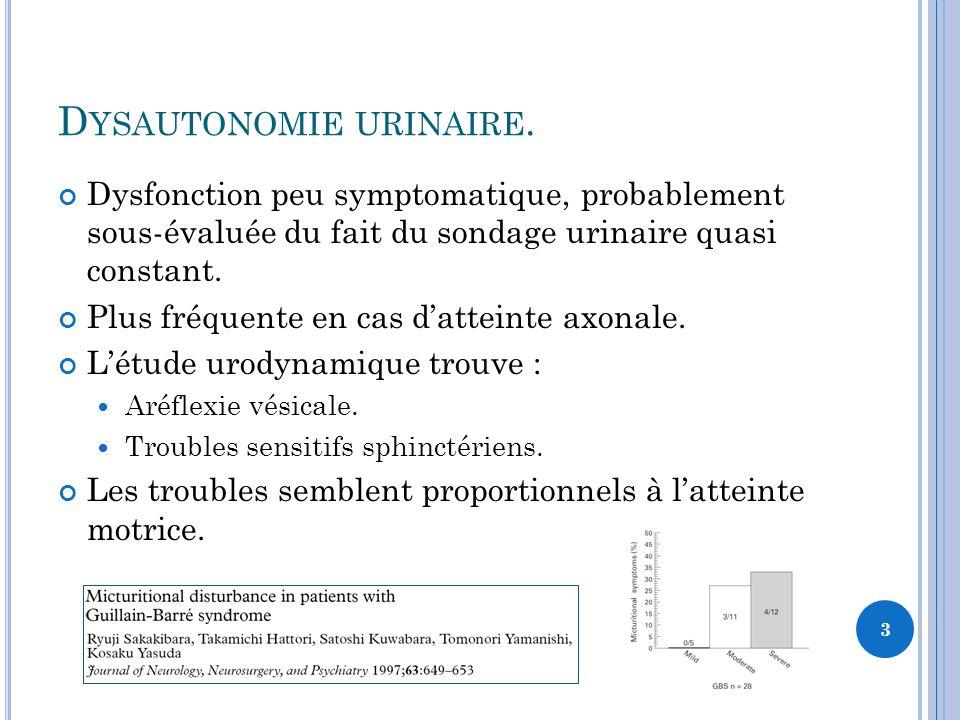 D YSAUTONOMIE URINAIRE. Dysfonction peu symptomatique, probablement sous-évaluée du fait du sondage urinaire quasi constant. Plus fréquente en cas dat