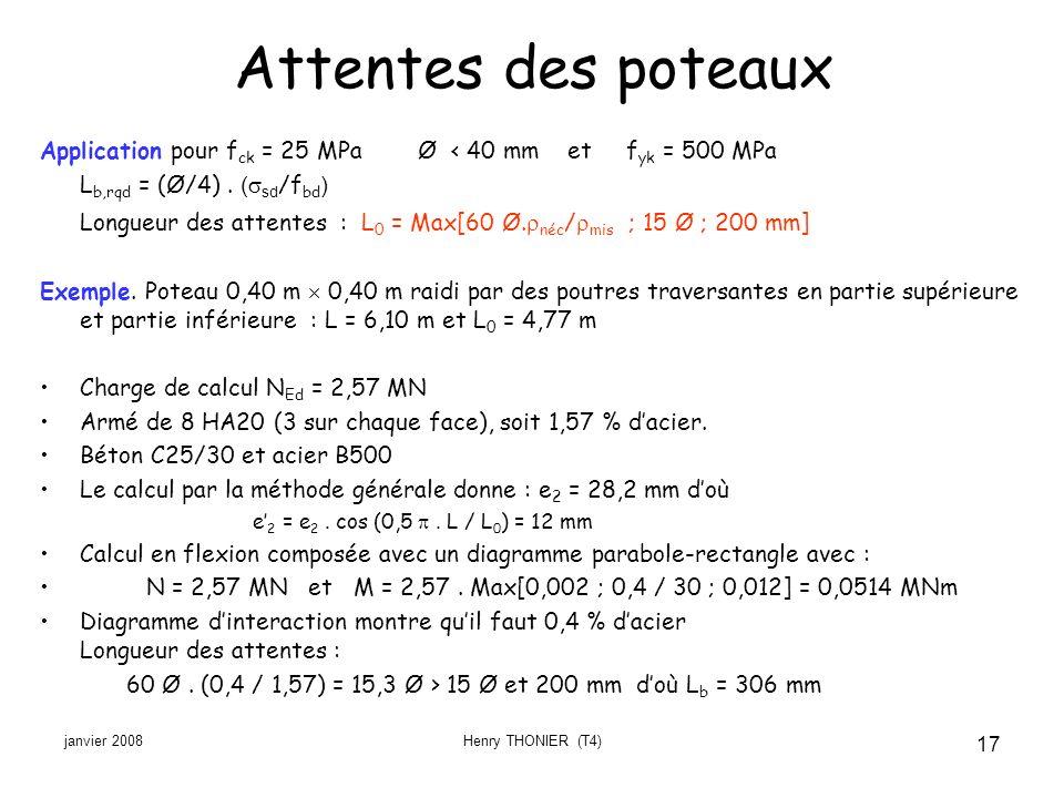 janvier 2008Henry THONIER (T4) 17 Attentes des poteaux Application pour f ck = 25 MPa Ø < 40 mm et f yk = 500 MPa L b,rqd = (Ø/4). ( sd /f bd ) Longue