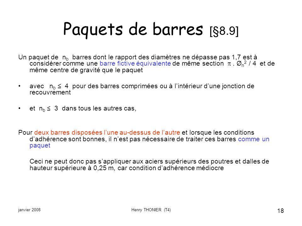 janvier 2008Henry THONIER (T4) 18 Paquets de barres [§8.9] Un paquet de n b barres dont le rapport des diamètres ne dépasse pas 1,7 est à considérer c