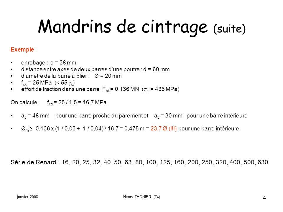 janvier 2008Henry THONIER (T4) 4 Mandrins de cintrage (suite) Exemple enrobage : c = 38 mm distance entre axes de deux barres dune poutre : d = 60 mm
